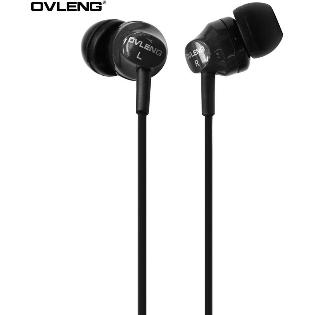 Headphones - Ovleng IP-520 Black Headphones MP3 Stereo In Ear Noise Reduction Earphones + Mic