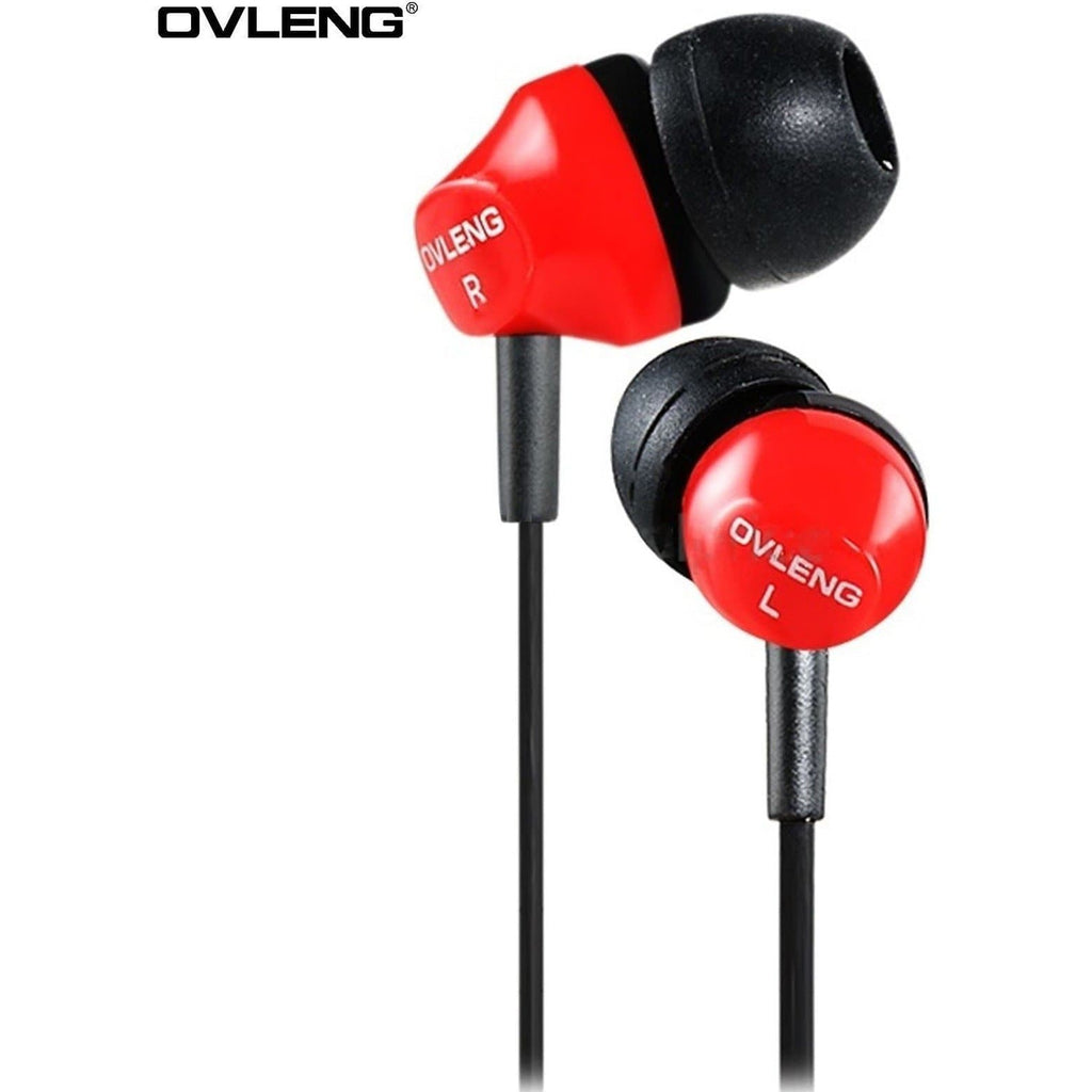 Ovleng IP-520 Red Headphones MP3 Stereo In Ear Noise Reduction Earphones + Mic