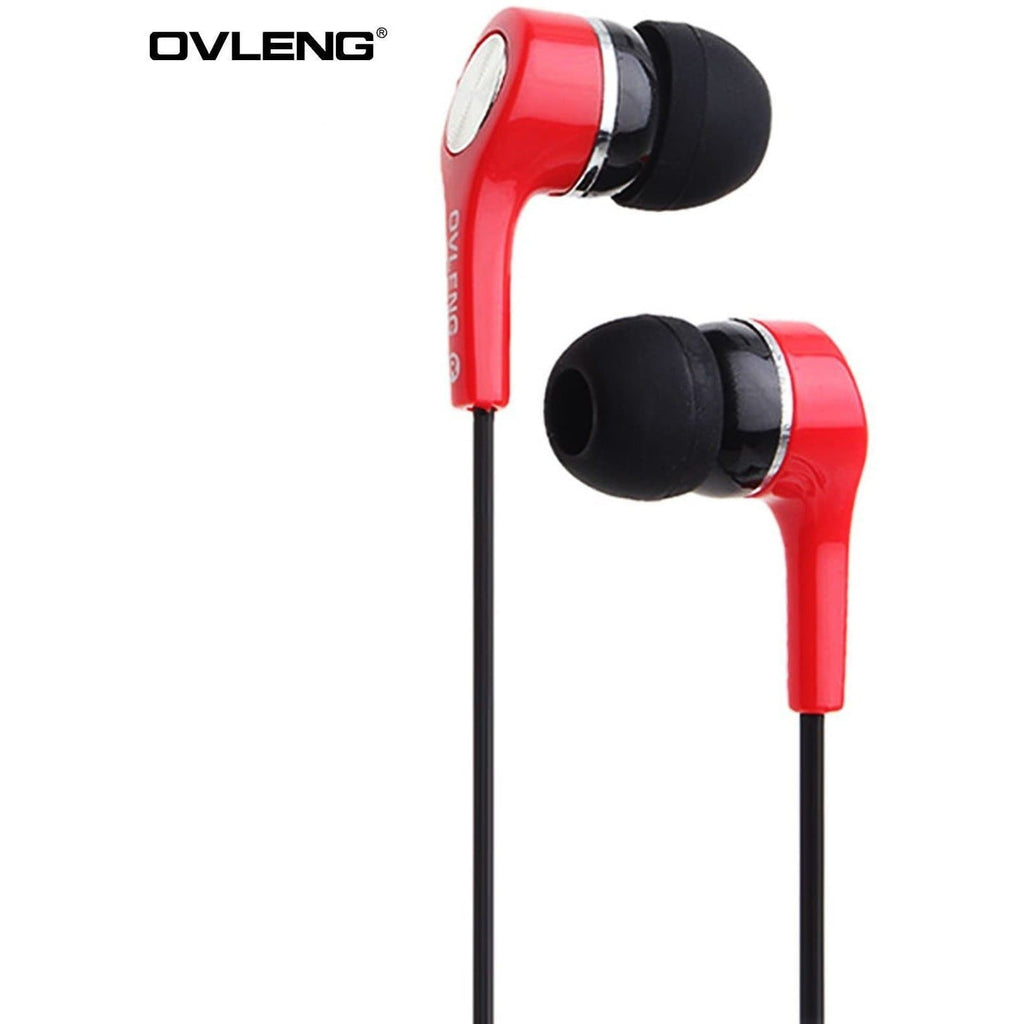 Ovleng IP-530 Red Headphones MP3 Stereo In Ear High Resolution Earphones + Mic