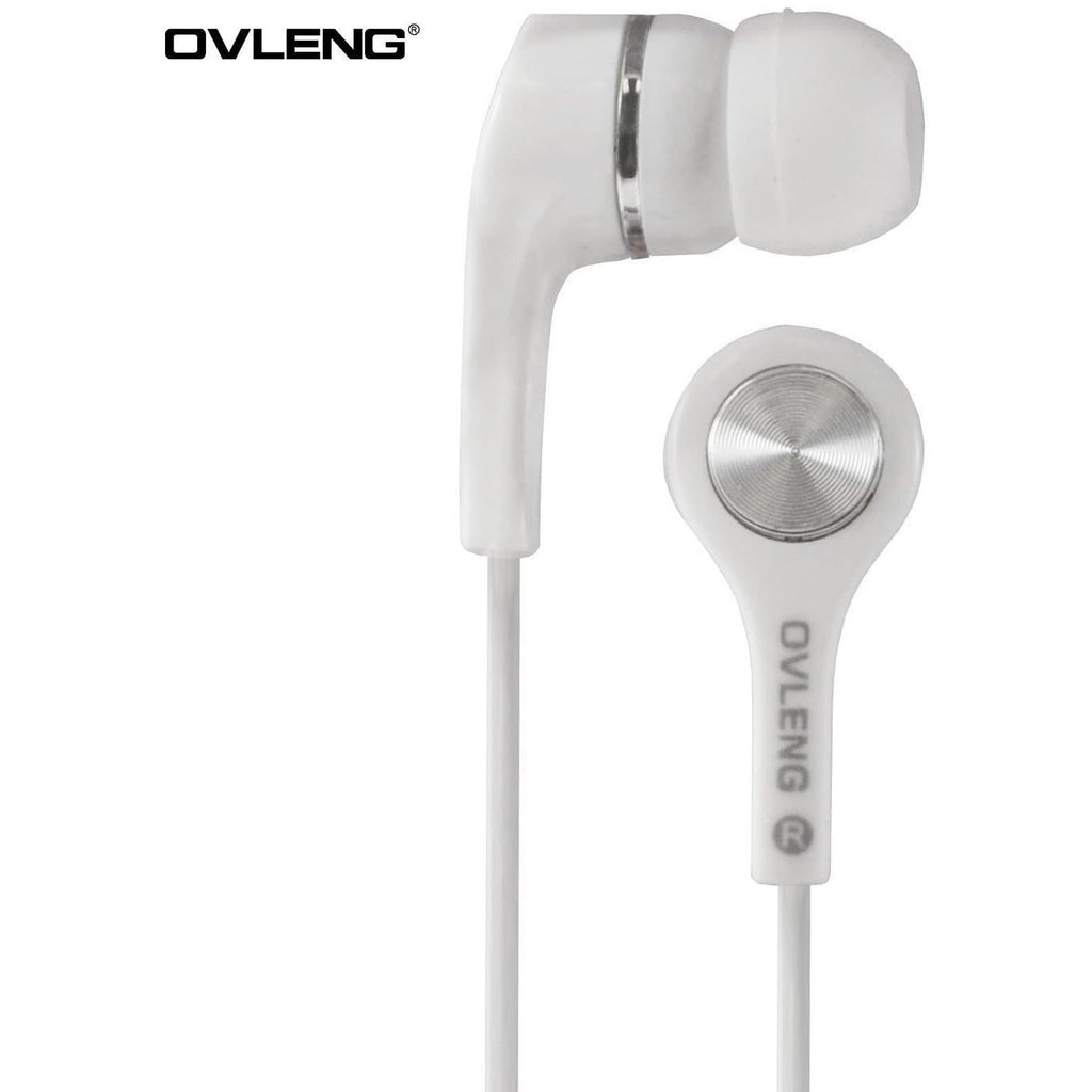 Headphones - Ovleng IP-530 White Headphones MP3 Stereo In Ear High Resolution Earphones + Mic