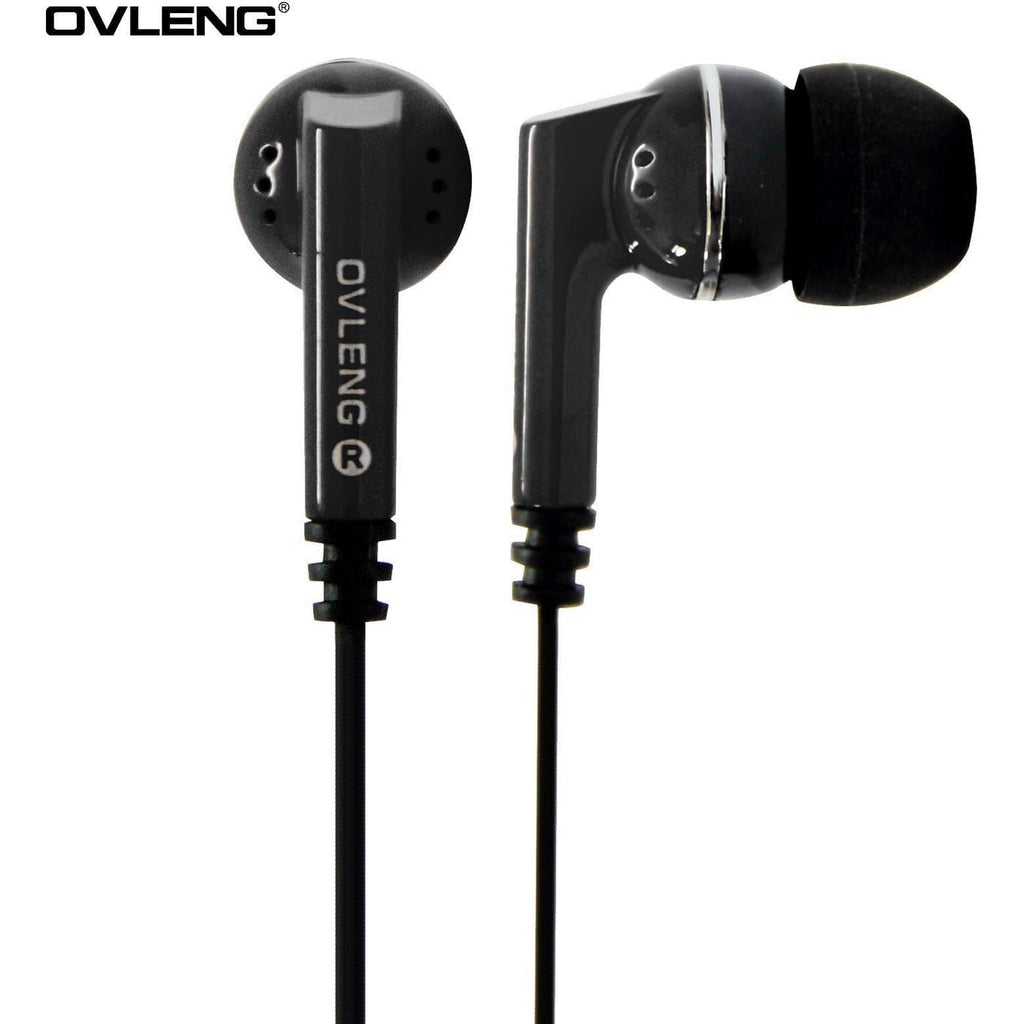 Ovleng IP-540 Black Headphones MP3 Stereo In Ear Noise Isolating Earphones + Mic