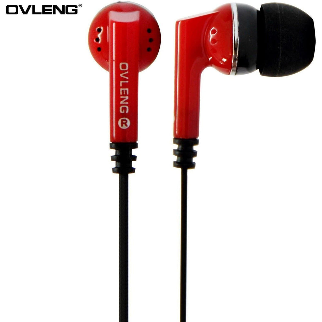 Headphones - Ovleng IP-540 Red Headphones MP3 Stereo In Ear Noise Isolating Earphones + Mic