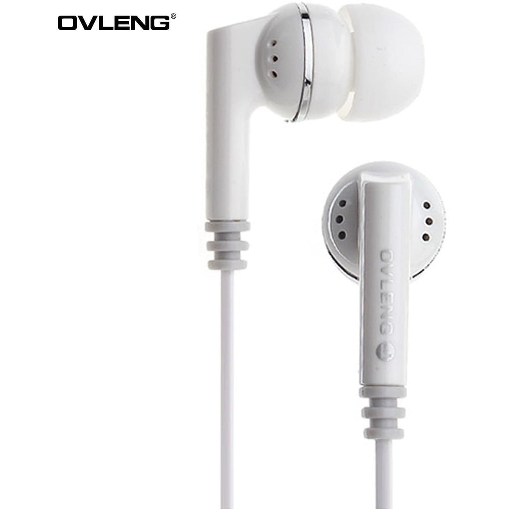 Ovleng IP-540 White Headphones MP3 Stereo In Ear Noise Isolating Earphones + Mic
