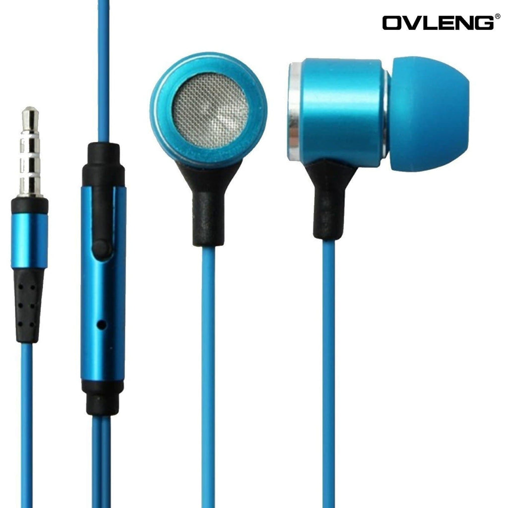 Ovleng IP-680 Blue Headphones MP3 Stereo In Ear High Definition Earphones + Mic