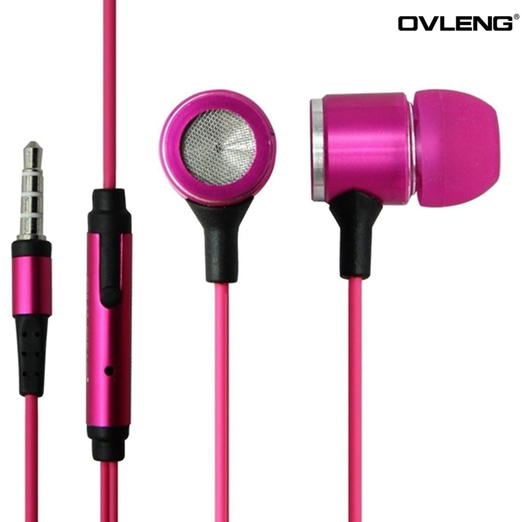 Headphones - Ovleng IP-680 Pink Headphones MP3 Stereo In Ear High Definition Earphones + Mic