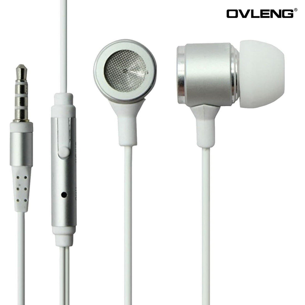 Headphones - Ovleng IP-680 White Headphones MP3 Stereo In Ear High Definition Earphones + Mic
