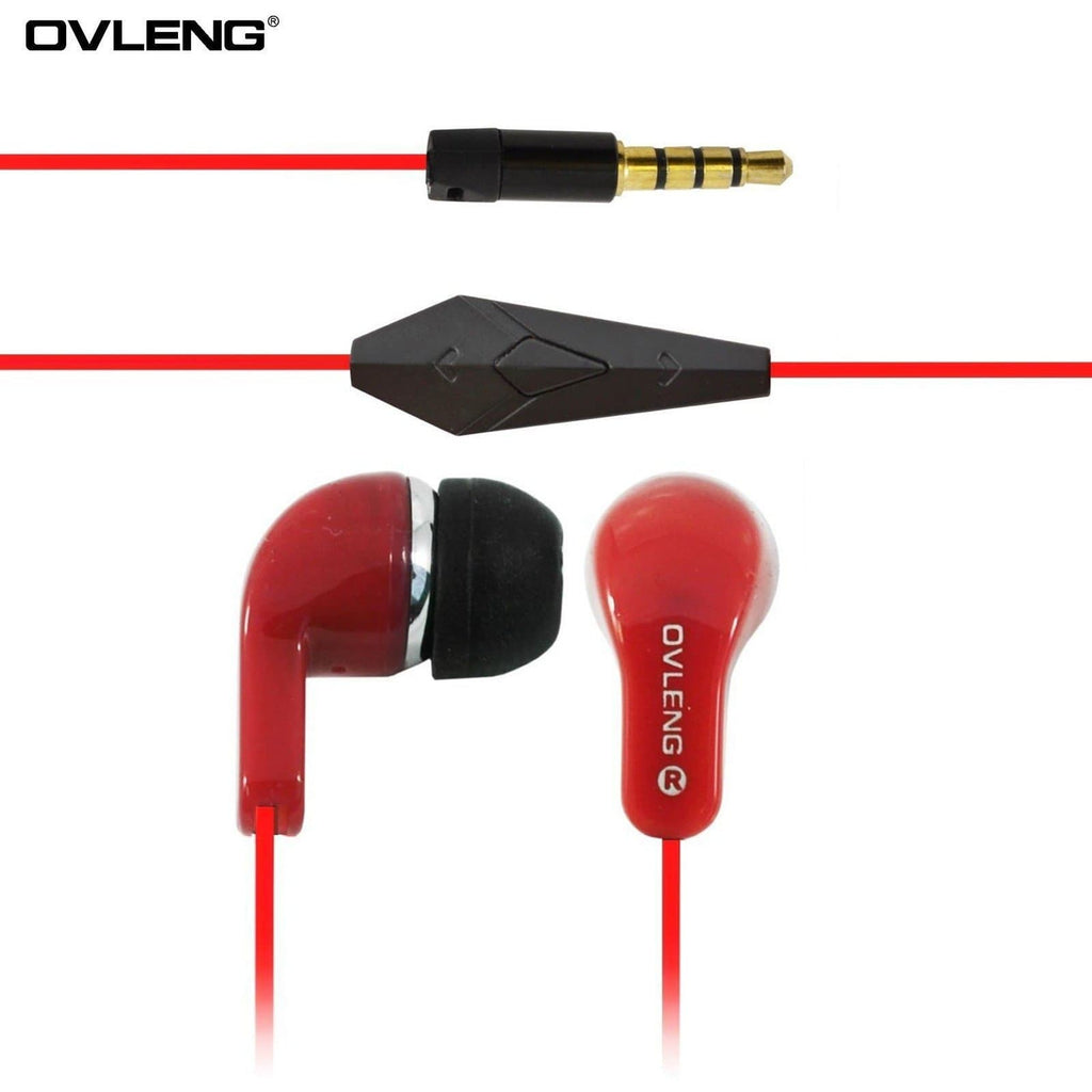 Headphones - Ovleng IP-740 Red Headphones MP3 Stereo In Ear Noise Reduction Earphones + Mic