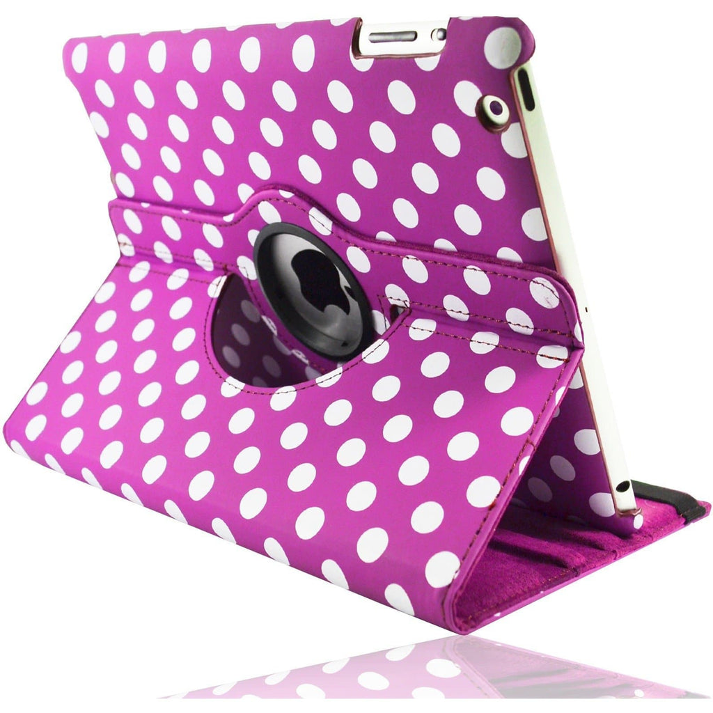 Apple iPad 2 / 3 / 4 - Polka Dot Pu Leather Book Flip Stand Case - Hot Pink