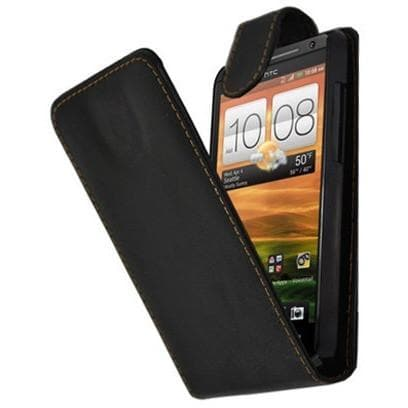 HTC Evo 4G - PU Leather Flip Slide Up And Down Case - Black