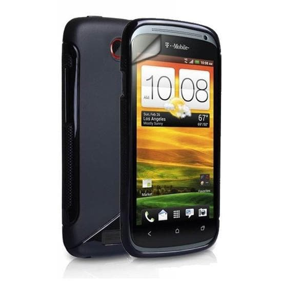 Htc One V-  S Line Gel Silicone Rubber Case Cover - Black