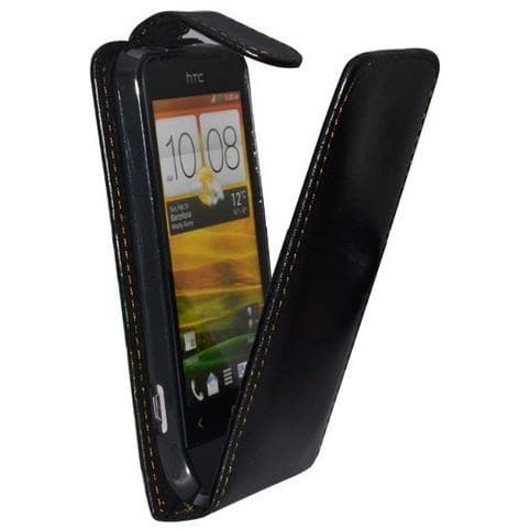 Flip Leather Case Cover - HTC One V - Black