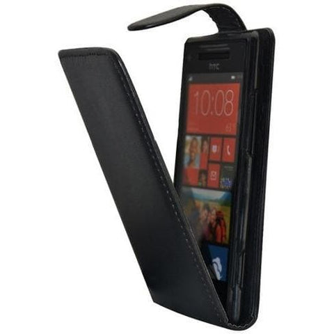 HTC Windows 8X - Clamp Style Pu Leather Flip Case Cover - Black