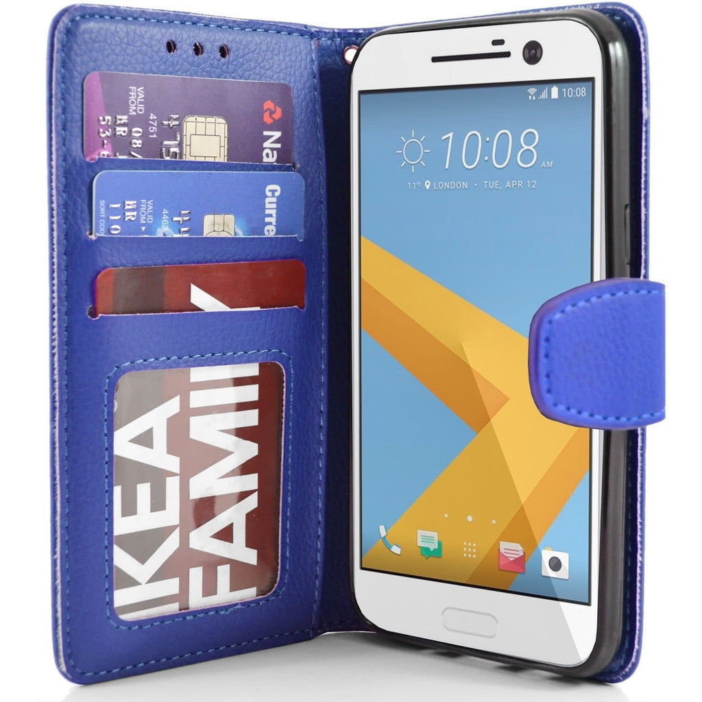 HTC One M10 PU Leather Wallet Case - Blue