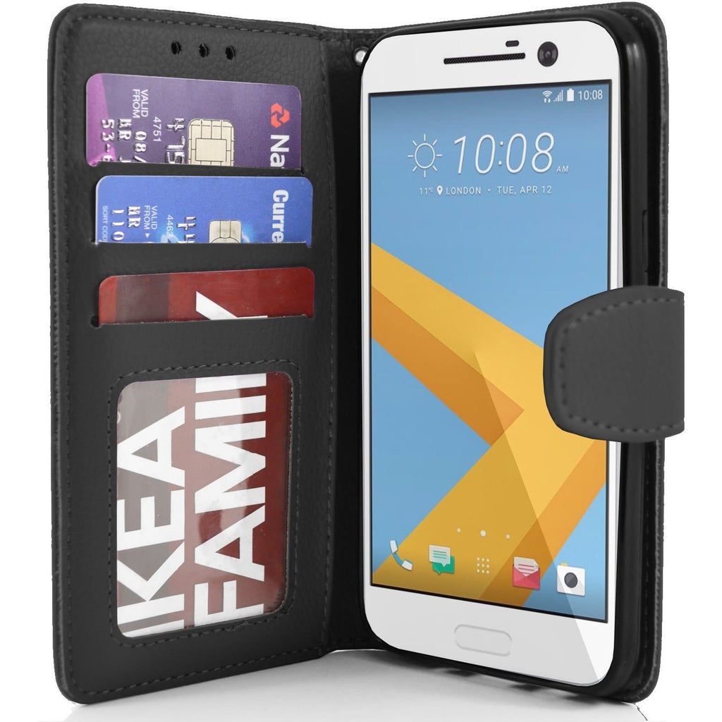 HTC One M10 PU Leather Wallet Case - Black
