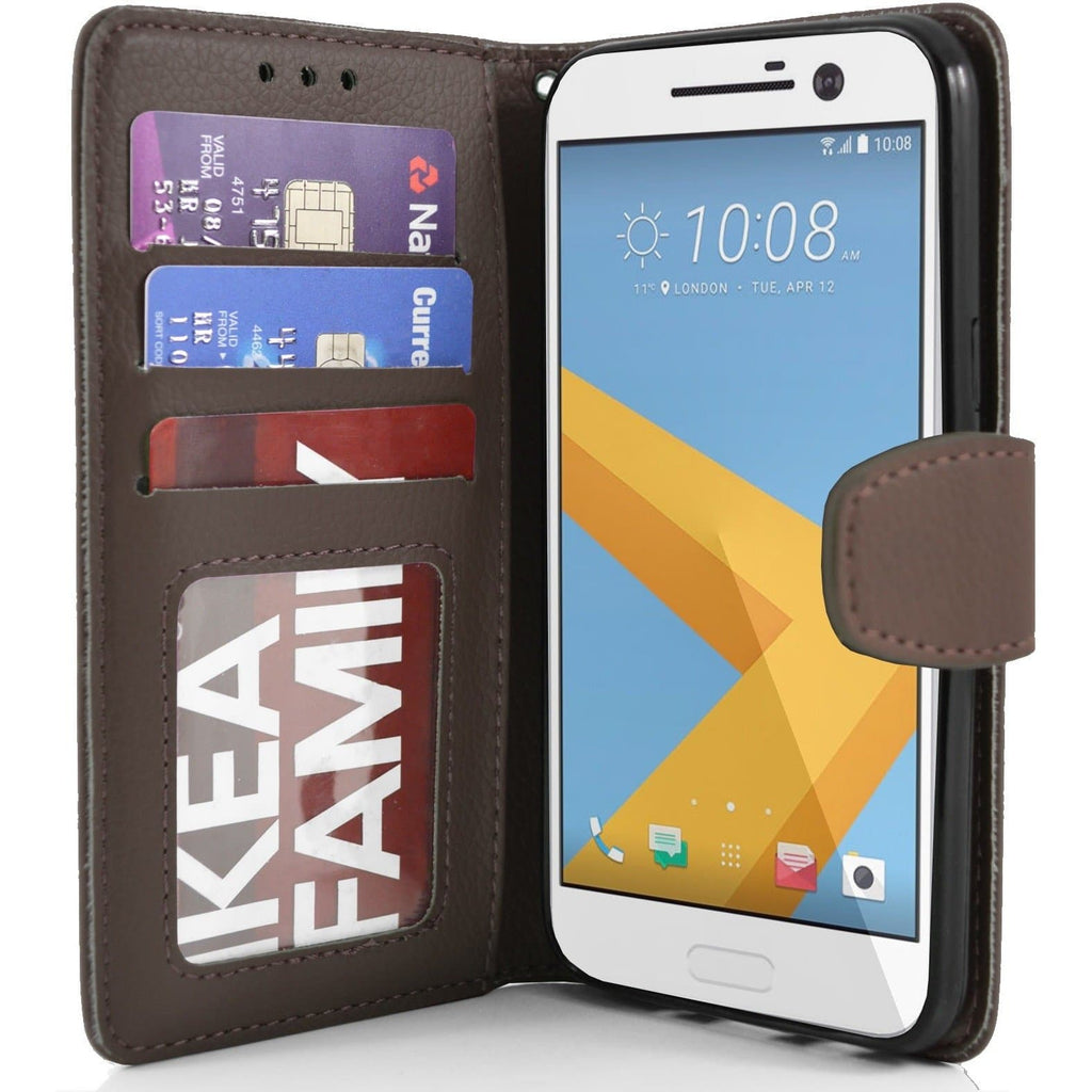 HTC One M10 - PU Leather Wallet Case - Brown