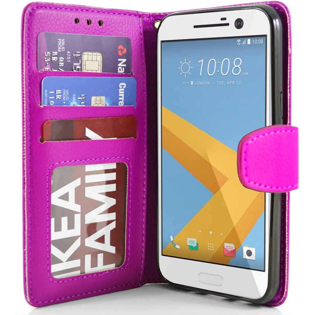 HTC One M10 PU Leather Wallet Case - Pink