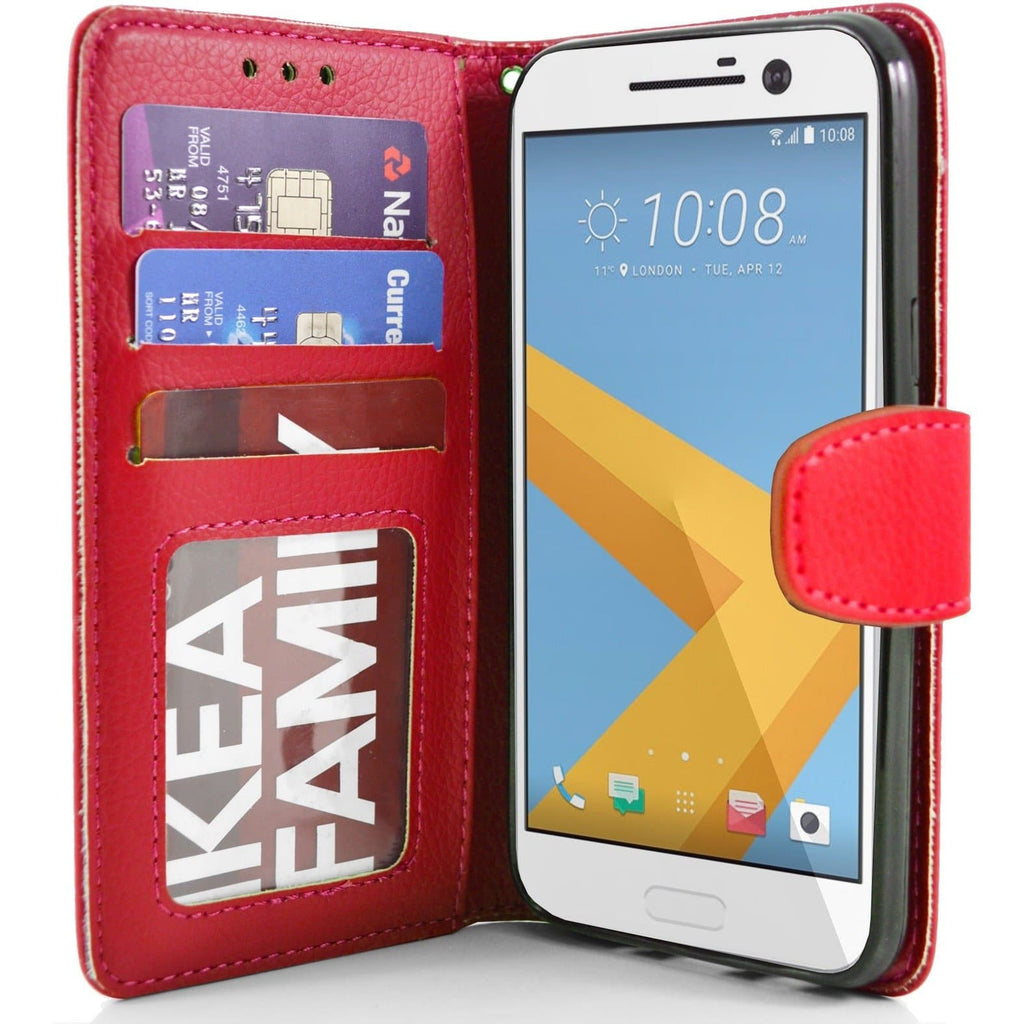 HTC One M10 PU Leather Wallet Case - Red