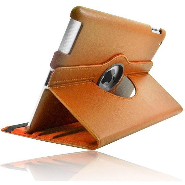 Orange Leather 360 Degree Rotating Case Stand For Ipad 2 3 4