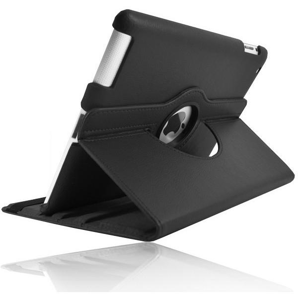 Black Leather 360 Degree Rotating Case Stand For iPad Air 2013 With Magnetic Sleep Wake Function