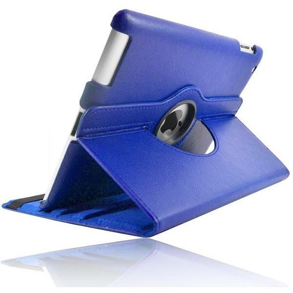 Blue Leather 360 Degree Rotating Case Stand For Ipad 2 3 4