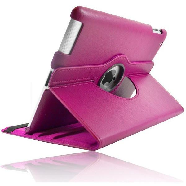 iPad Mini 1 / 2 / 3 - Leather 360 Degree Rotating Rotary Case - Hot Pink