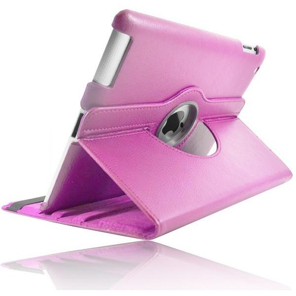 Pink Leather 360 Degree Rotating Case Stand For Ipad 2 3 4