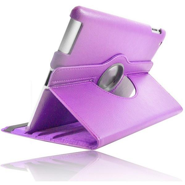 "Purple Leather 360 Degree Rotating Case Cover Stand For Samsung Galaxy Note Tab 3 8"" T310 T311 T315"