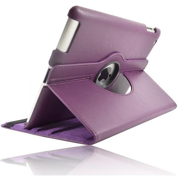 Purple Leather 360 Degree Rotating Case Cover Stand For Ipad 2 & New Ipad 3