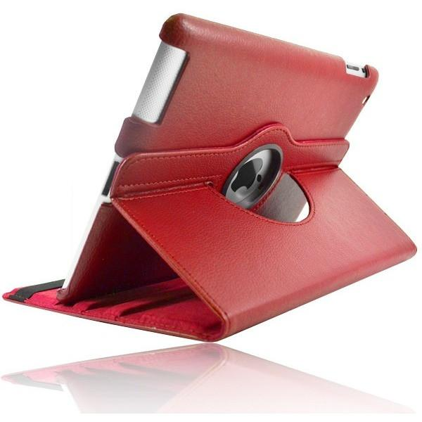 Red Leather 360 Degree Rotating Case Cover Stand For Ipad 2 & New Ipad 3