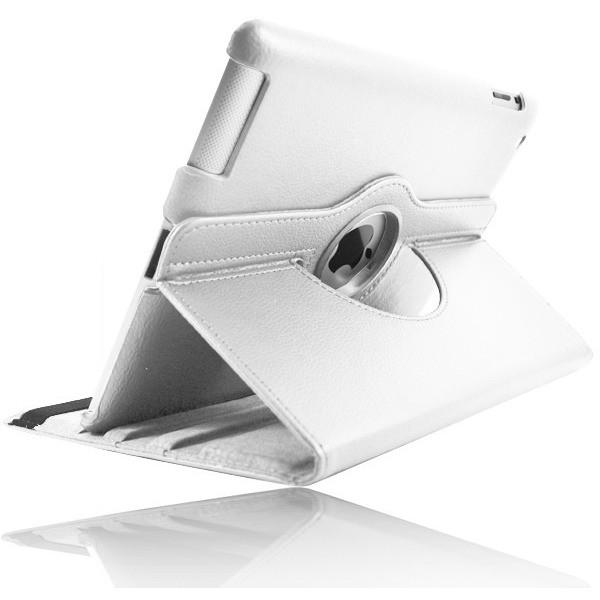 White Leather 360 Degree Rotating Case Stand For Ipad 2 3 4