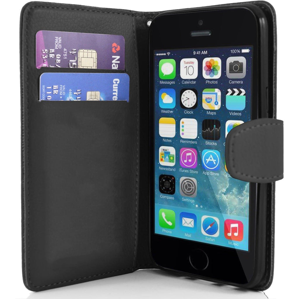 iPhone 5 / 5S / SE - Classic PU Leather Card Wallet Protective Case - Black