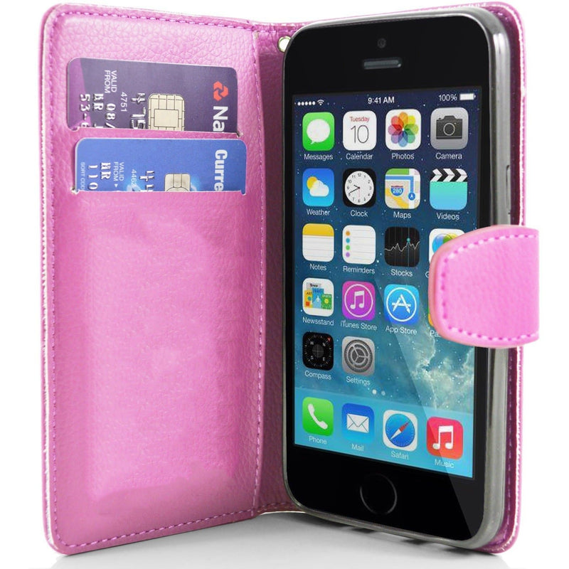 iPhone 5 / 5S / SE - Classic PU Leather Card Wallet Protective Case - Pink
