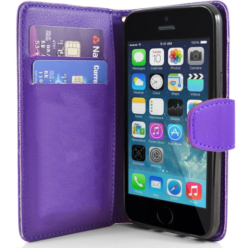 iPhone 5 / 5S / SE - Classic PU Leather Card Wallet Protective Case - Purple