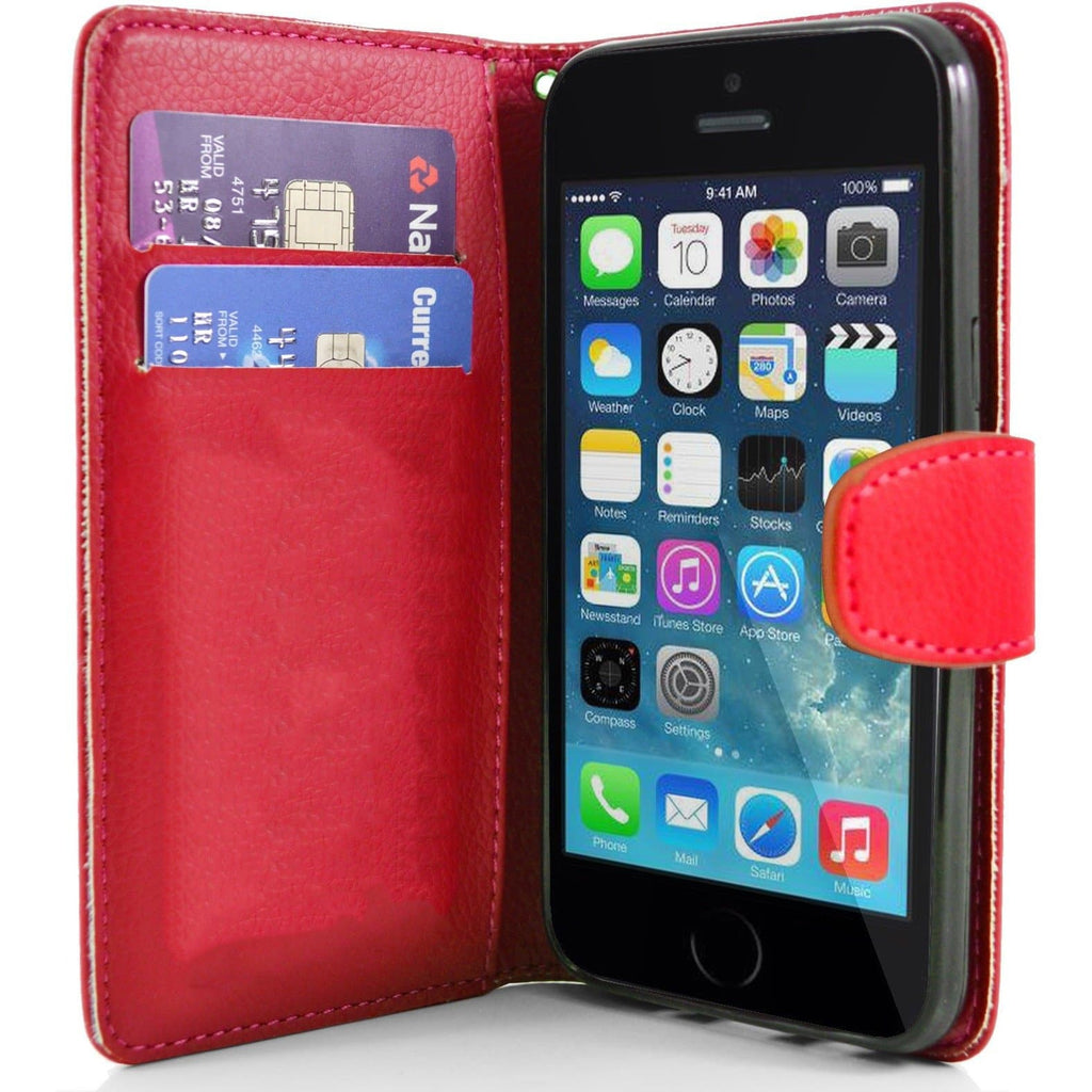 iPhone 5 / 5S / SE - Classic PU Leather Card Wallet Protective Case - Red