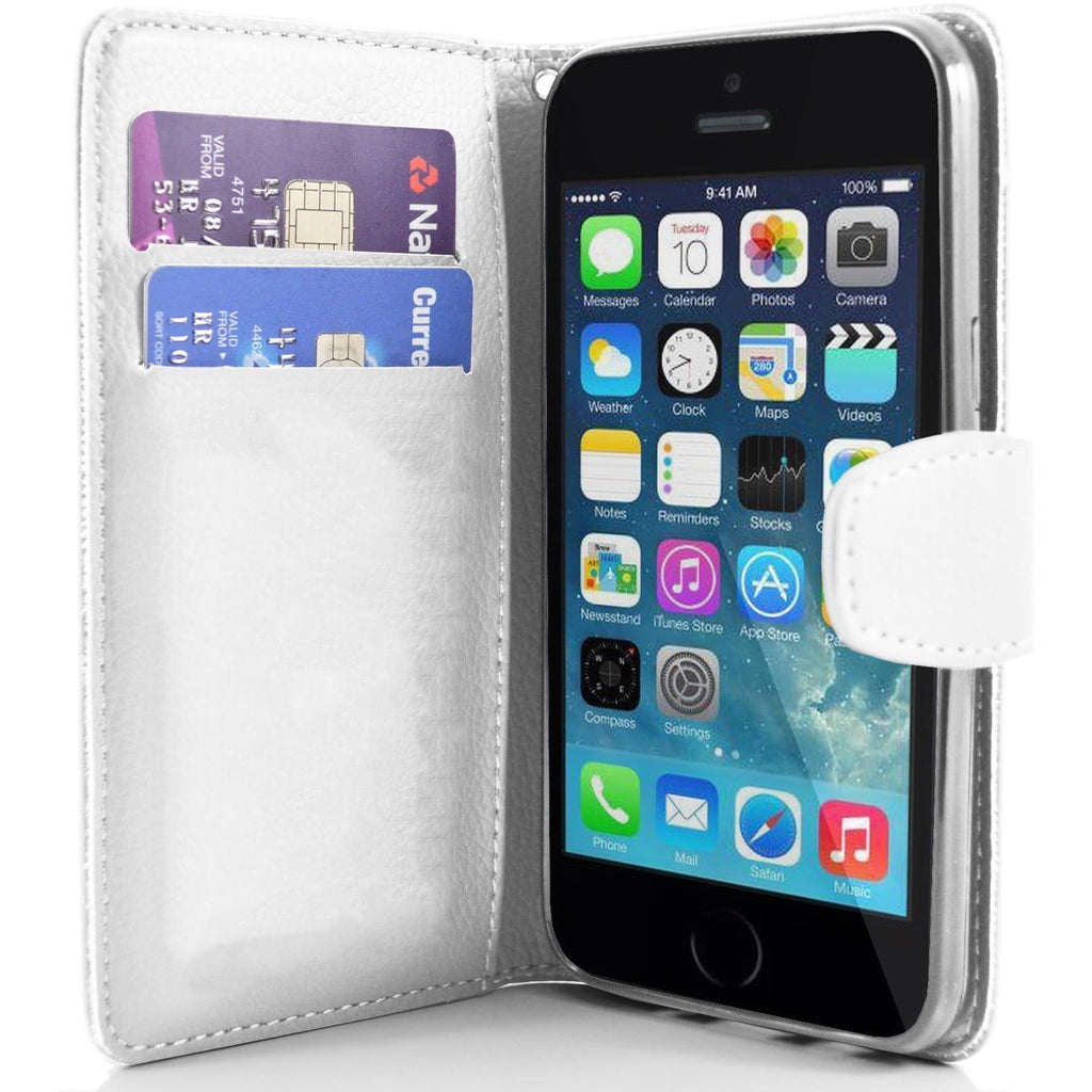 iPhone 5 / 5S / SE - Classic PU Leather Card Wallet Protective Case - White