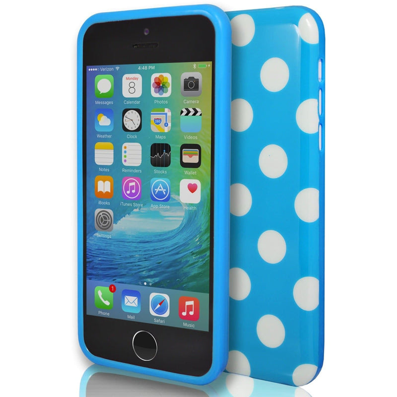 iPhone 6 / 6S - Blue And White Polka Dot Soft Gel Silicone Case Cover