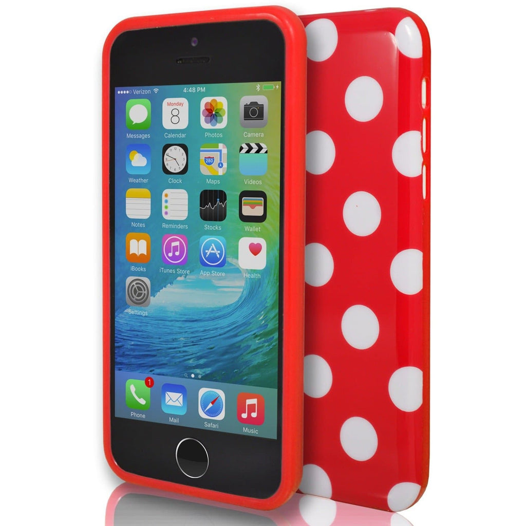 iPhone 6 / 6S - Red And White Polka Dot Soft Gel Silicone Case Cover