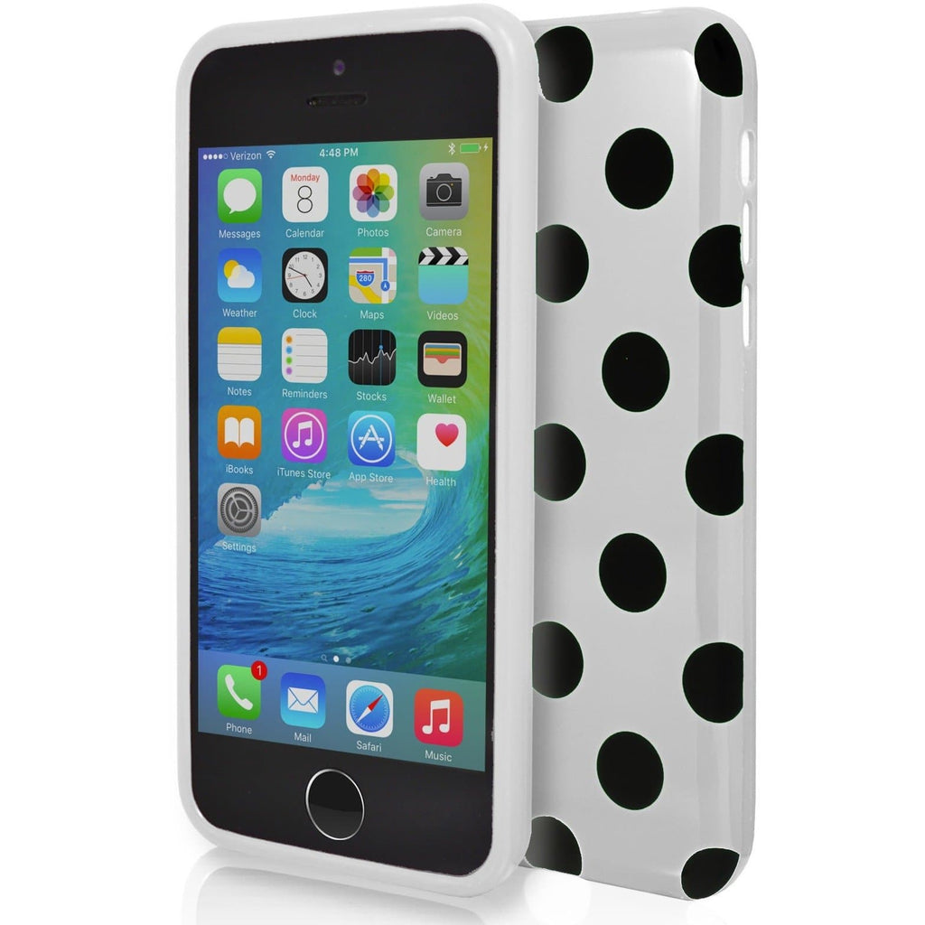 iPhone 6 / 6S - White and Black Monochrome Polka Dot Soft Gel Silicone Case Cover