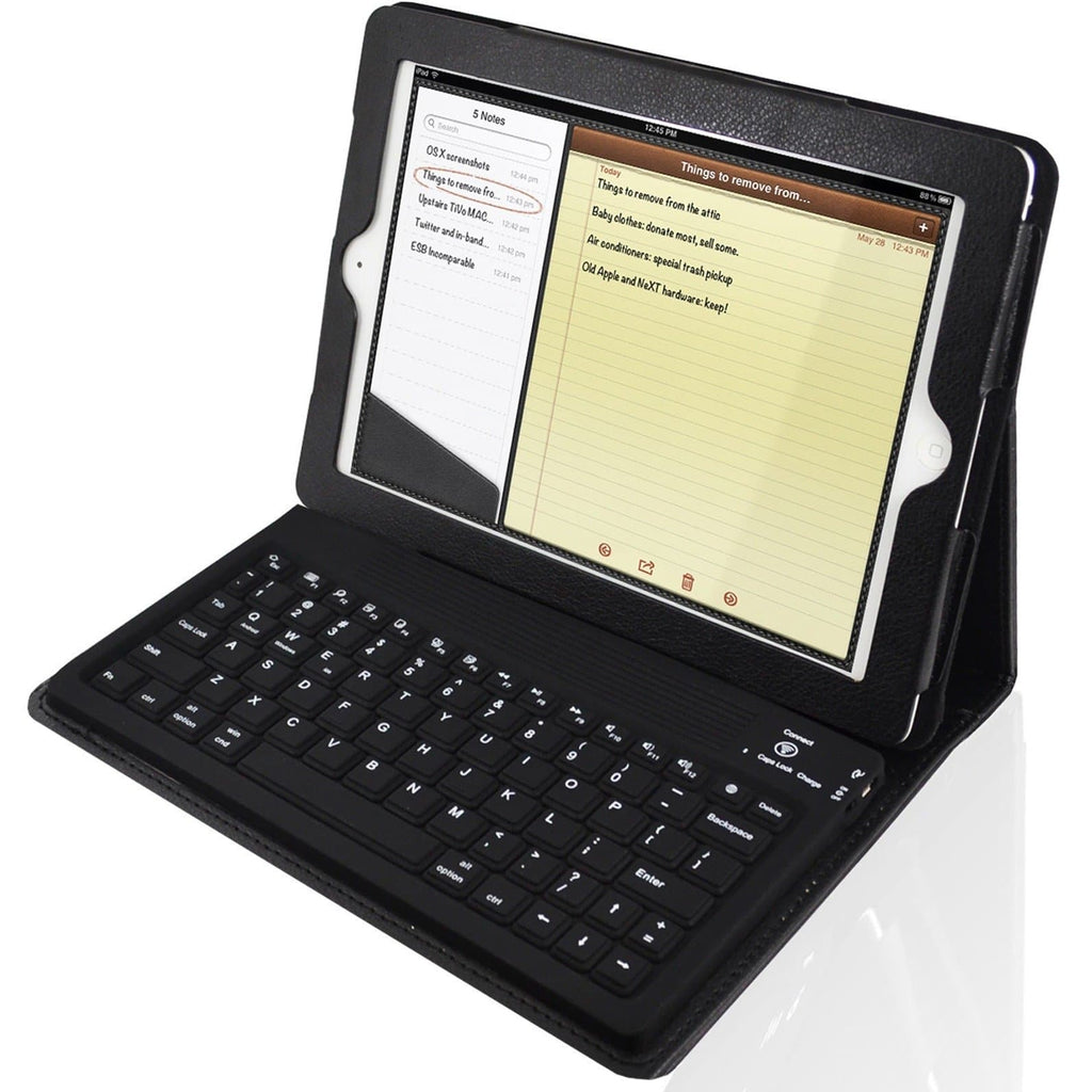 iPad Mini 1 / 2 / 3 - Bluetooth Keyboard Folio Leather Case Flip Stand - Black