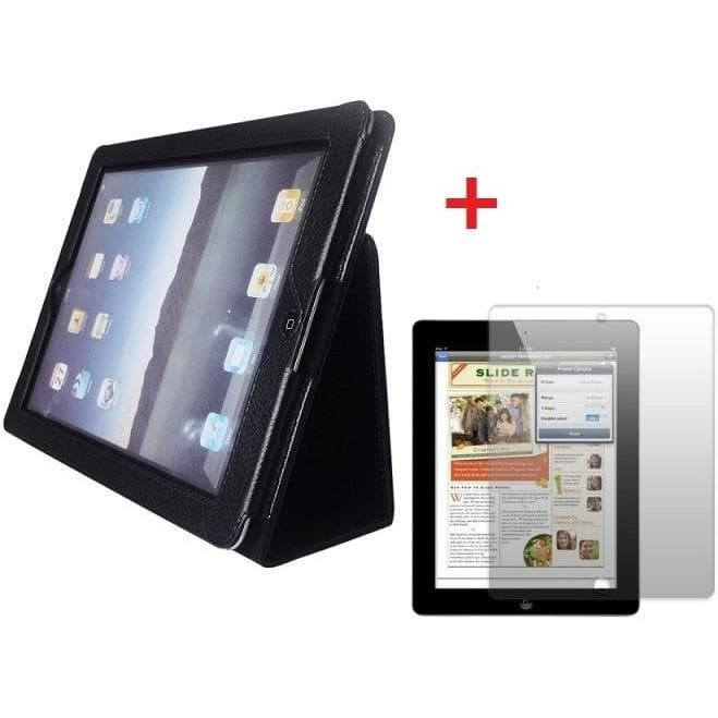 Leather Case Stand For Apple iPad 2 + Screen Protector