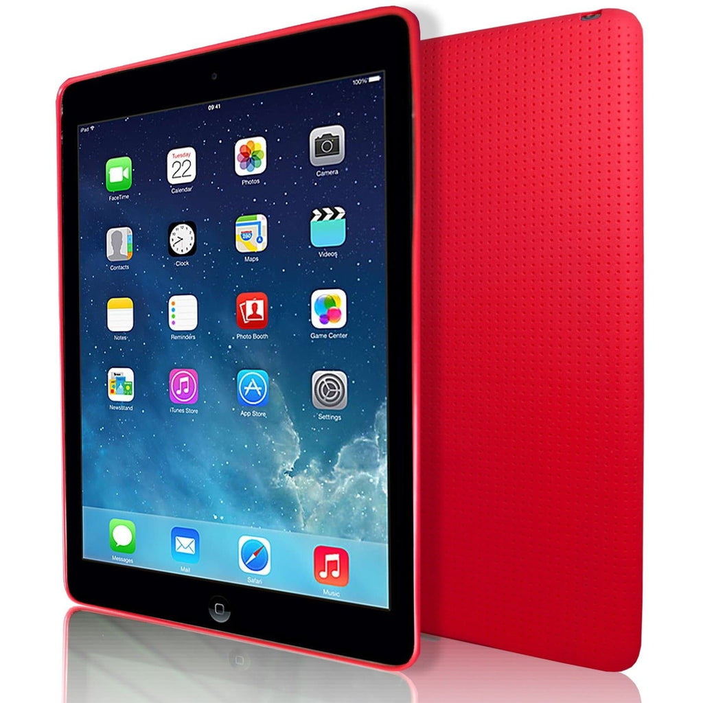 iPad Air 2 - Pin Hole Style Silicone Gel Case Cover - Red