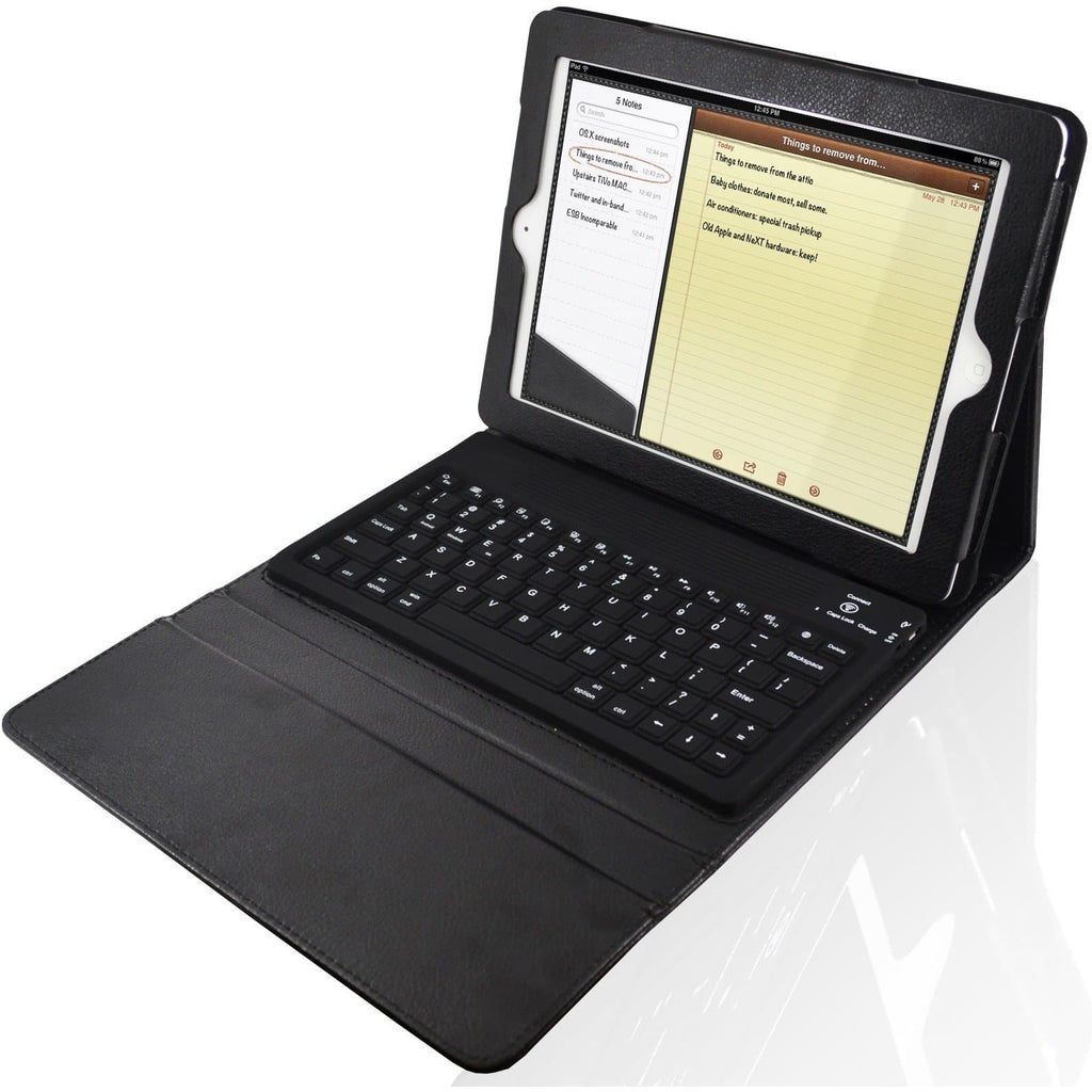 Apple iPad 2, 3, 4 - Bluetooth Keyboard Folio Leather Case Stand