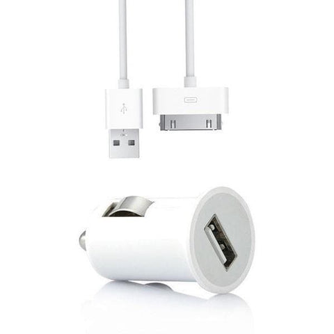 2 In 1 Car Charger - Apple iPod/iPhone/iPad - With USB Cable