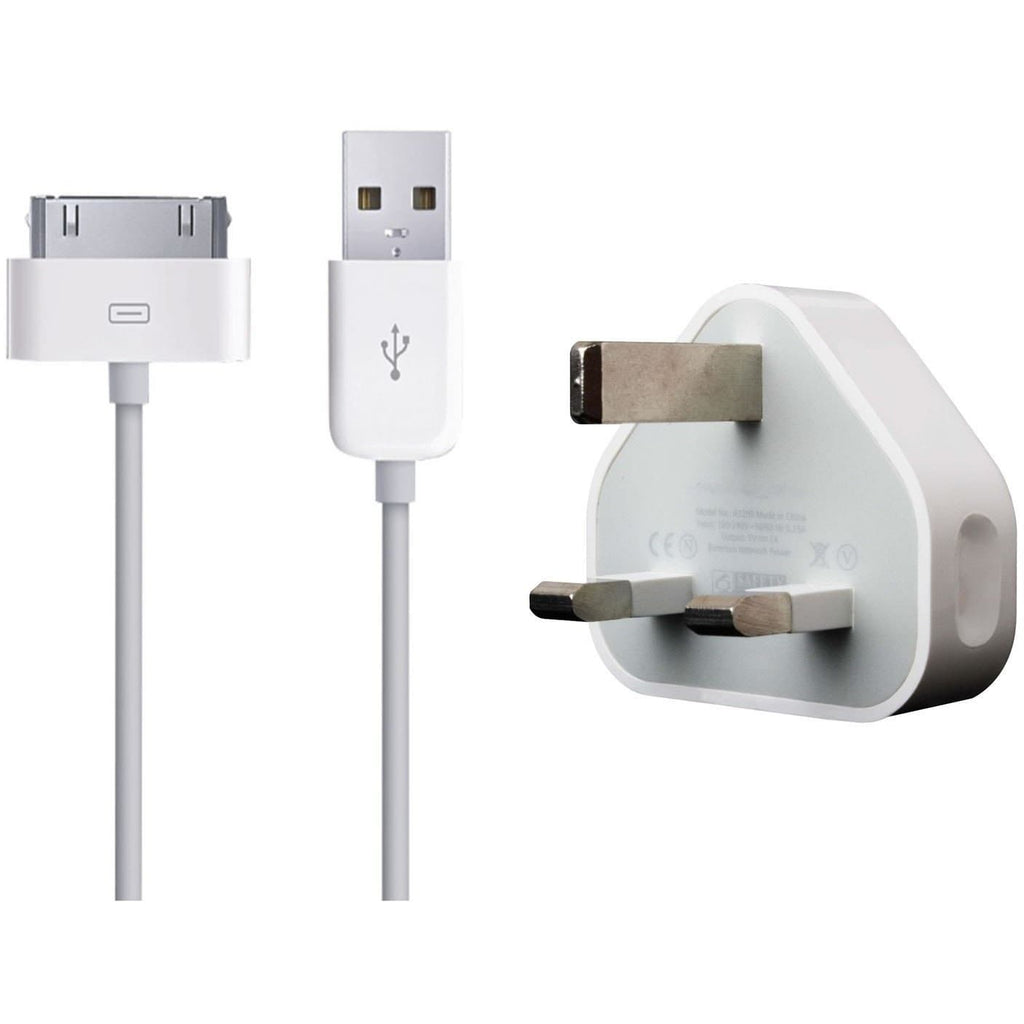 IPhone Cables - Genuine Apple Mains Charger + Genuine Usb Data Cable For Iphone 3G 4 4S, Ipod