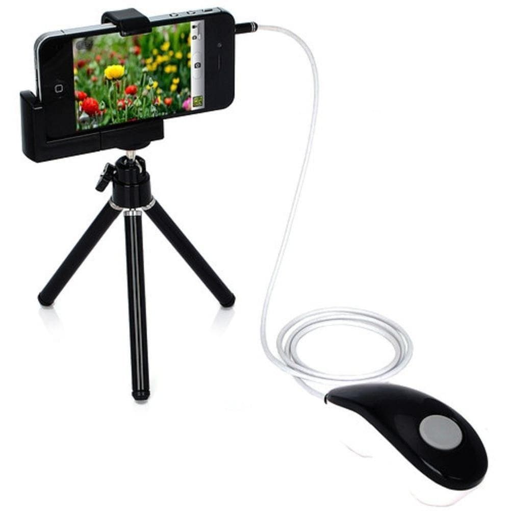 Shutter Release Cable For iPhone 4 / 4S / 5 / 5S / 5C With Mini Rotatable Tripod Stand Holder