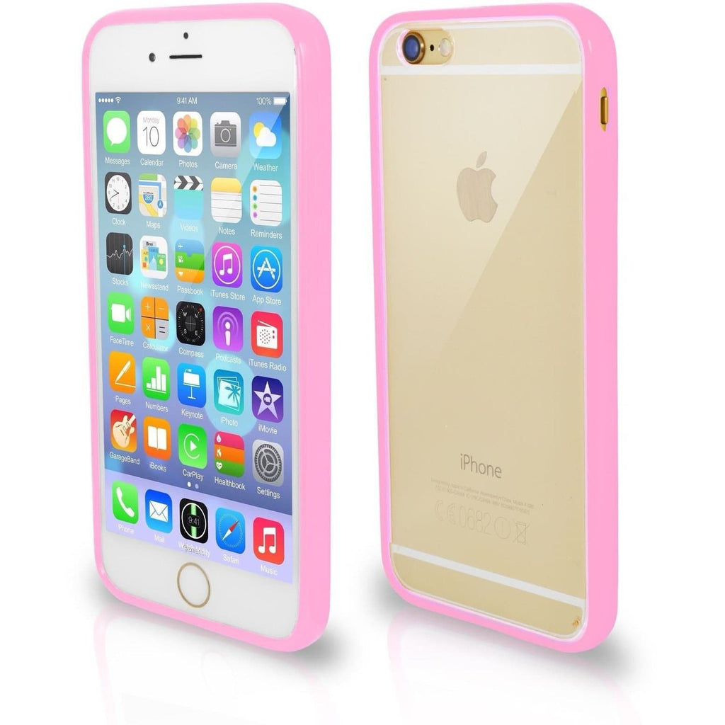 Apple iPhone 4 / 4S Bumper Clear Back Silicone Case - Baby Pink