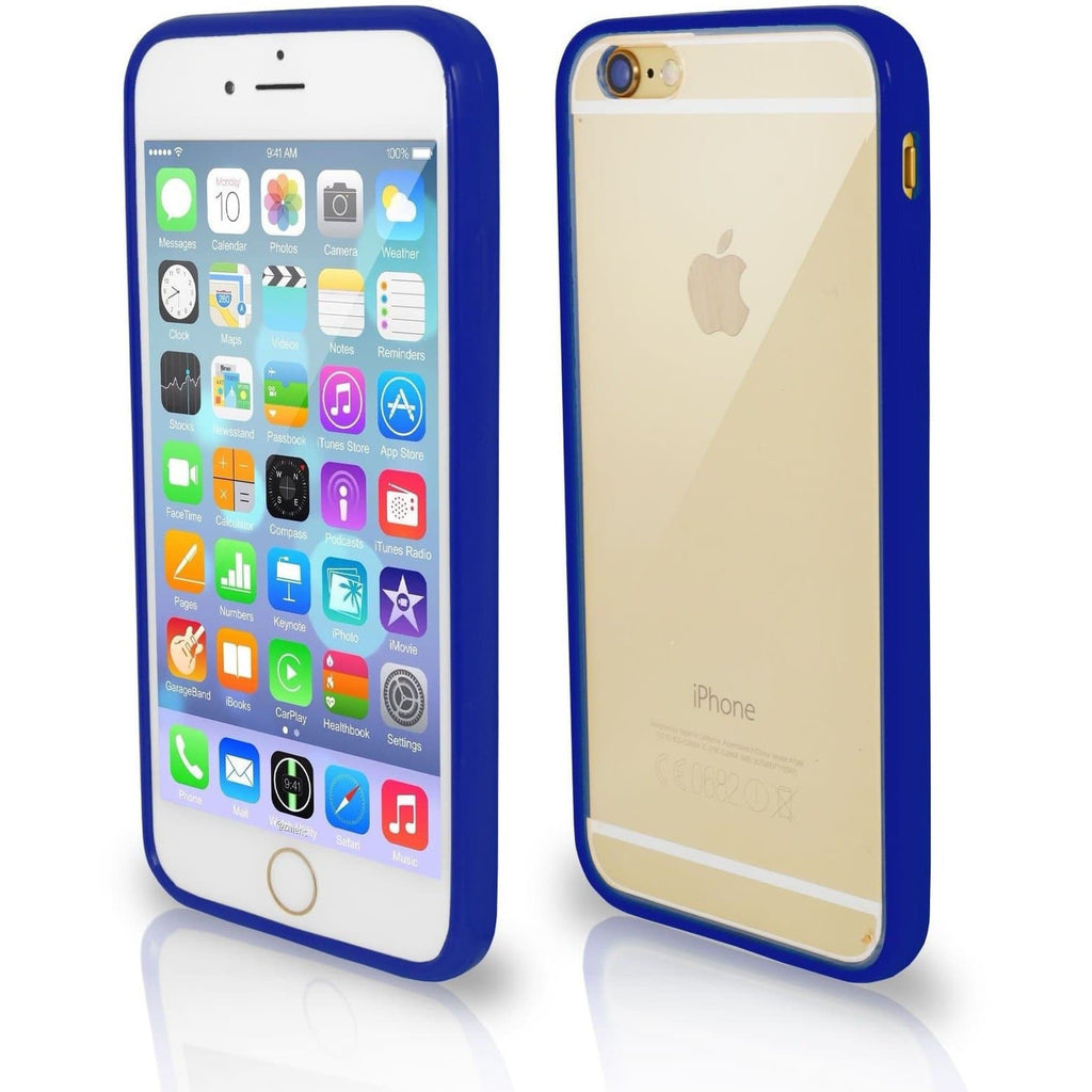 Apple iPhone 4 / 4S Bumper Clear Back Silicone Case - Dark Blue