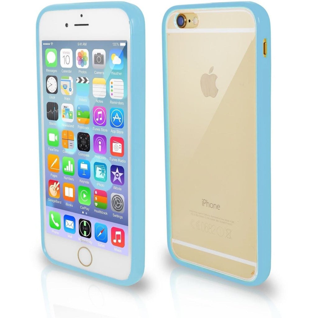 Apple iPhone 4 / 4S Bumper Clear Back Silicone Case - Light Blue