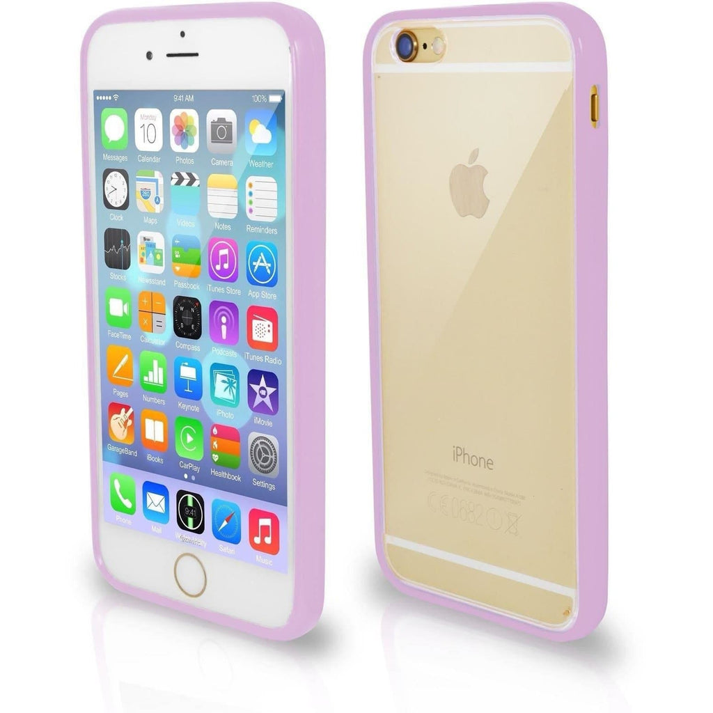 Apple iPhone 4 / 4S Bumper Clear Back Silicone Case - Purple