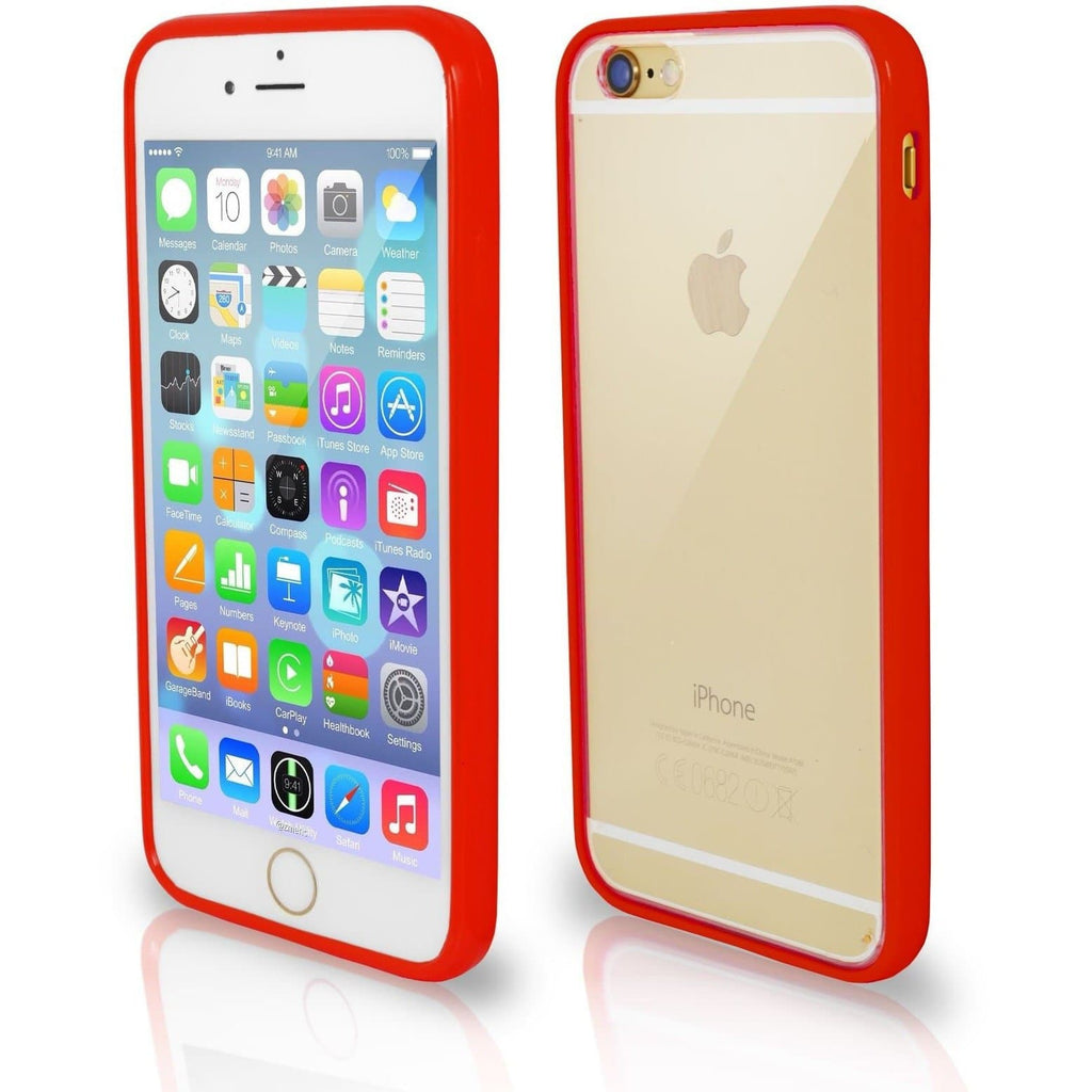 Apple iPhone 4 / 4S Bumper Clear Back Silicone Case - Red
